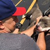 Richard Payerchin - The Morning Journal <br> Lorain County Dog Kennel volunteer Mike Yonek says his goodbye to Shark, a kennel resident who was adopted in August and taken home Aug. 26, 2017, at the kennel's first Dog Appreciation Day. The kennel had six dogs adopted and one claimed by its owner during the event, meant to connect families to new pets and raise awareness of the mission of the facility.
