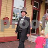 Katie Finlon for Shaw Media<br /> Max Daniels, who impersonates President Abraham Lincoln, laughs with a few event attendees at Pioneer Day on Sunday in Genoa.