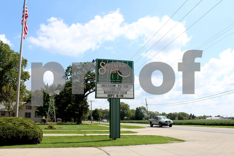 Shea Lazansky - slazansky@shawmedia.com<br /> The marquee at the Sandwich Fairgrounds welcomes visitors and vendors preparing for the fair, which will run Sept. 6-10.