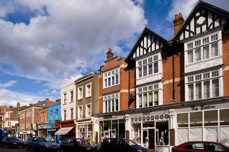 Parade of shops on The Green, Ealing, W5, London, United Kingdom