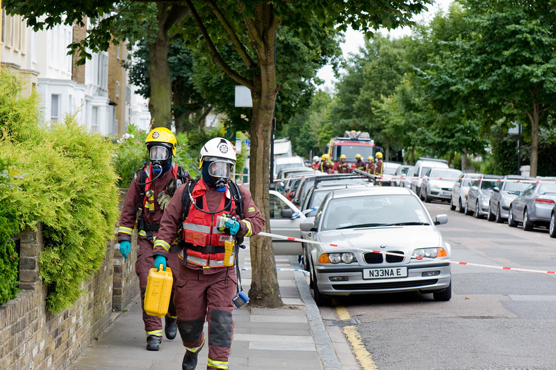 Fire Brigade investigating chemical spill in Ealing, W5, London, United Kingdom