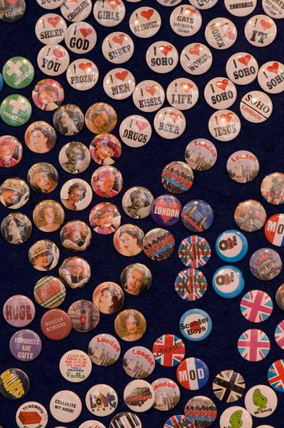 Souvenir badges on sale, London, United Kingdom