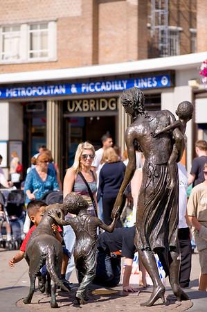Statue outside underground station, Uxbridge, Middlesex, United Kingdom
