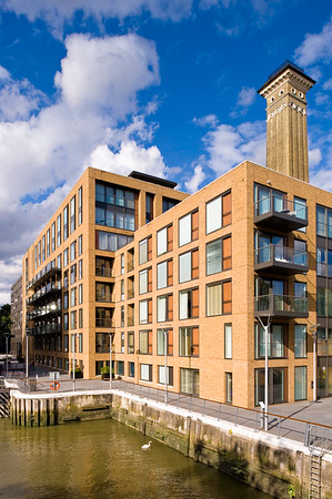 Newly built apartments by canal, Grosvenor Waterside, SW3, London, United KIngdom