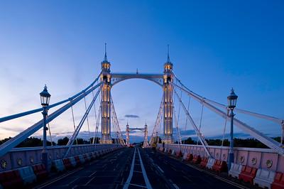 Albert Bridge illuminated in the evening, Thames River, London, United KIngdom