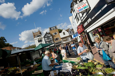 Stalls on Market Place, Kingstone upon Thames, Surrey, United Kingdom