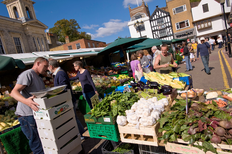 People shopping at Market Place, Kingston upon Thames, Surrey, United Kingdom