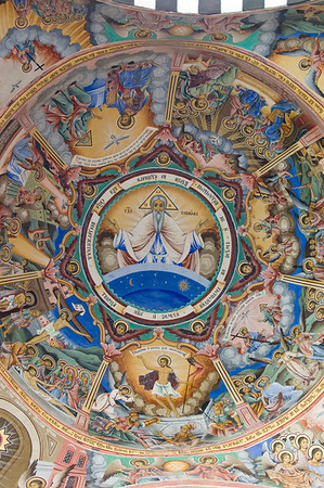 Frescoes on the outside walls of of the church, Rila Monastery,