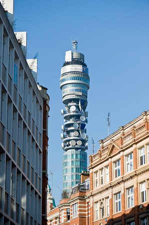 BT Tower seen from Newman Street, W1, London, United Kingdom