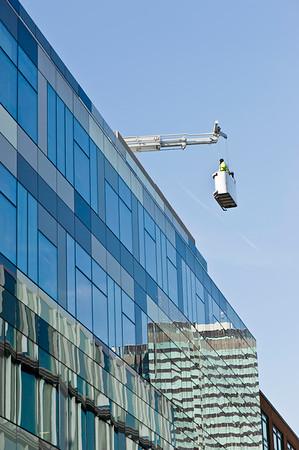 Modern architecture of office buildings in Fitzrovia near Tottenham Court Road, W1, London, United Kingdom