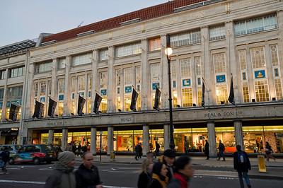 HEALS department store on Tottenham Court Road at dusk, W1, London, United Kingdom
