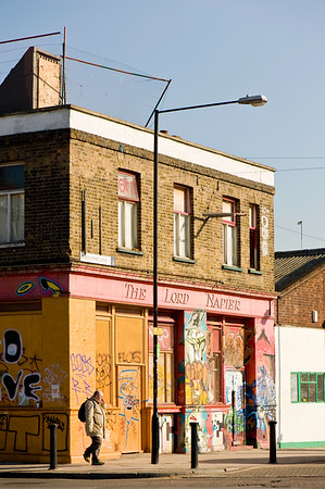 Graffiti on boarded up pub, Hackney, E9, London, United Kingdom