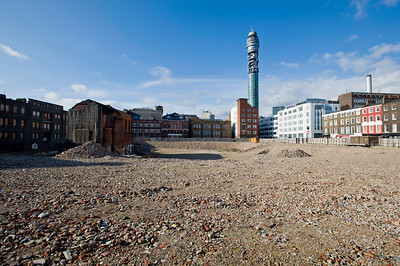 Empty land ready for development near Goodge Street, W1, London, United Kingdom