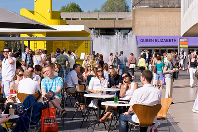 Terrace bars busy with people by Royal Festival Hall, Southbank, London, United Kingdom