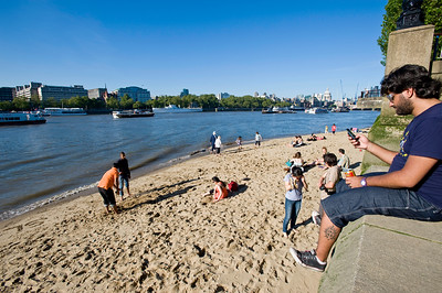 Sandy beach by Southbank, London, United Kingdom