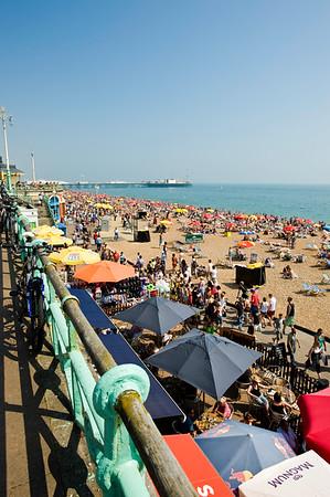 Crowded beach, Brighton, East Sussex, United Kingdom