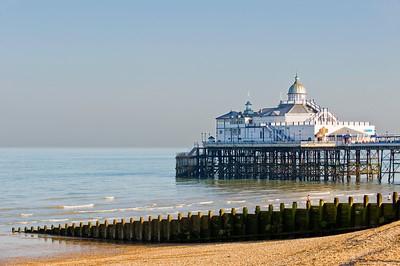 Pebble beach and pier, Eastbourne, East Sussex, United Kingdom