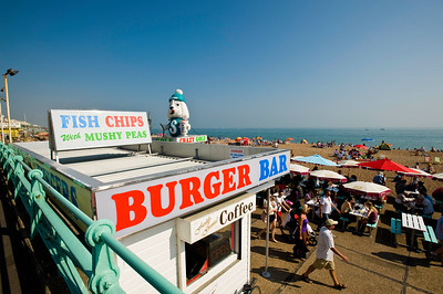 Burger bar on the seafront, Brighton, East Sussex, United Kingdom