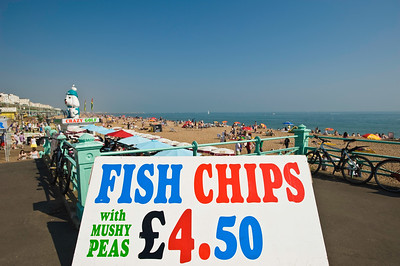 Fish and chips stall on the seafront, Brighton, East Sussex, United Kingdom