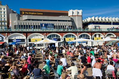 Crowded beach bars, Brighton, East Sussex, United Kingdom