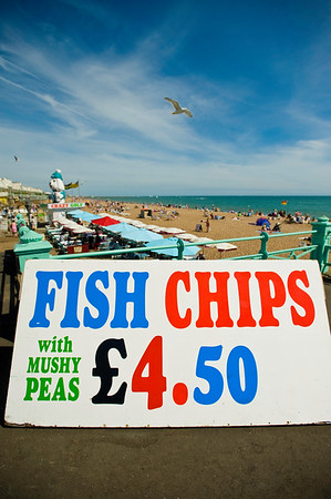 Fish & chips bar by the beach, Brighton, East Sussex, United Kingdom