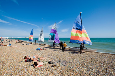 Sailing boats on the beach, Brighton, East Sussex, United Kingdom