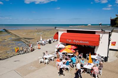 Cafe bar by West Bay beach, Margate, Kent, United Kingdom