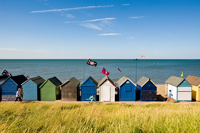 Beach huts on seafront, Herne Bay, Kent, United Kingdom