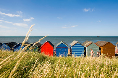 Beach huts on the seafront, Herne Bay, Kent, United Kingdom