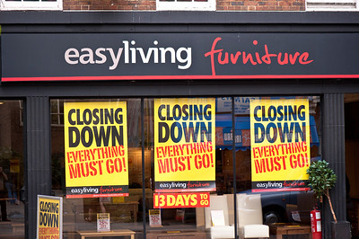 Furniture store closing down, Fitzrovia, W1, London, United Kingdom