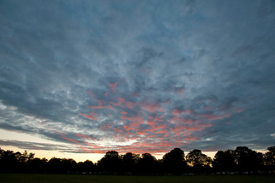 Dramatic evening sky at sunset over Ealing Common, W5, Ealing, London, United Kingdom