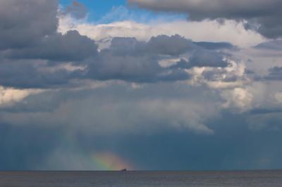 Dramatic sky over the sea near Felixstow, Suffolk, England, United Kingdom