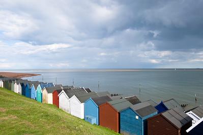 Beach huts on the seafront, Felixstow, Suffolk, England, United Kingdom