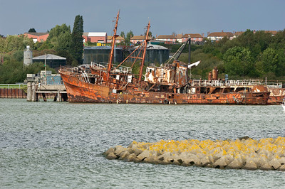 Rusted fishing boat on River Orwell near Ipswich, Suffolk, England, United Kingdom