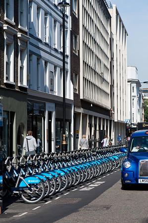 Barclays Cycle Hire project scheme, Wells Street, W1, London, United Kingdom