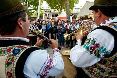 Brass band from Romania playing during  Thames River Festival on Southbank, London, United Kingdom