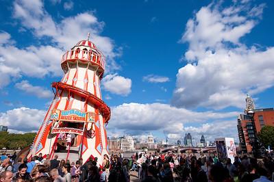 People celebrationg Thames River Festival on Southbank, London, United Kingdom