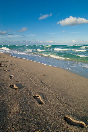 Footsteps in sand, South Beach, Miami,USA
