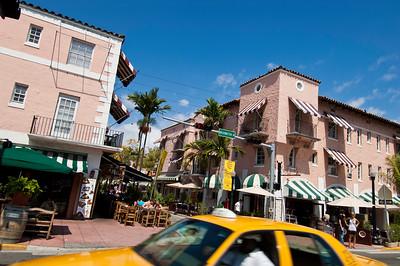 Bars and restaurants on Espanola Way, so called Spanish Village, South Beach, Miami, Florida, USA