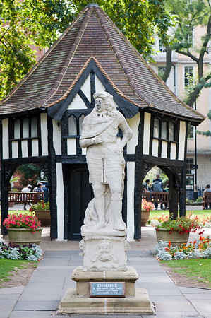 Charles the Second statue on Soho Square, W1, London, United Kingdom