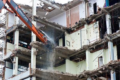 Building being demolished in Islington, N1, London, United Kingdom
