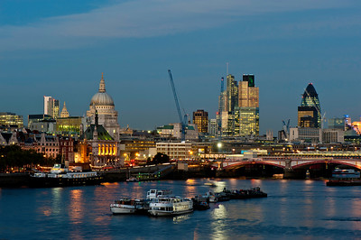 City of London and Thames river at night, London, United Kingdom
