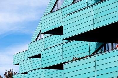 Balconies of modern apartment block, Islington, London, United Kingdom