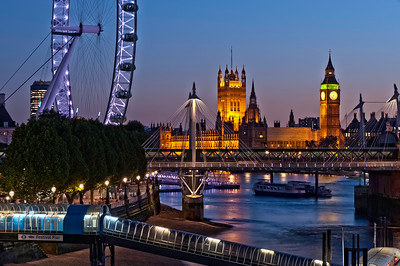Houses of Parliament and Thames River at night, London, United Kingdom
