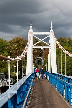 Suspension bridge over Thames River in Teddington, Surrey, United Kingdom