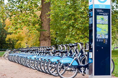 Cycle hire station, Hyde Park, London, United Kingdom