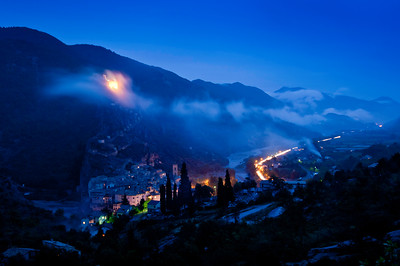 Europe, France, Provence, Entrevaux, view of town by night
