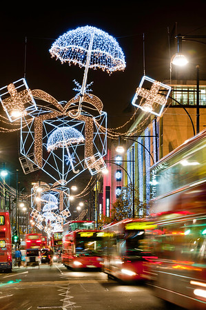 Oxford Street illuminated for Christmas season 2010, London, United Kingdom