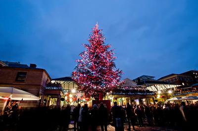 Christmas tree by Apple Market, Covent Garden, Christmas season 2010, London, United Kingdom