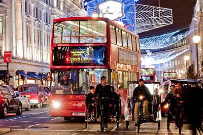 Regent Street illumunated during Christmas season 2010, London, United Kingdom